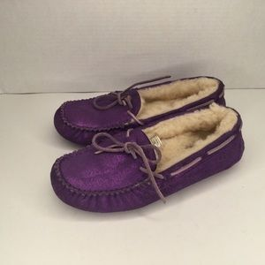 UGG purple moccasin driving shoes.